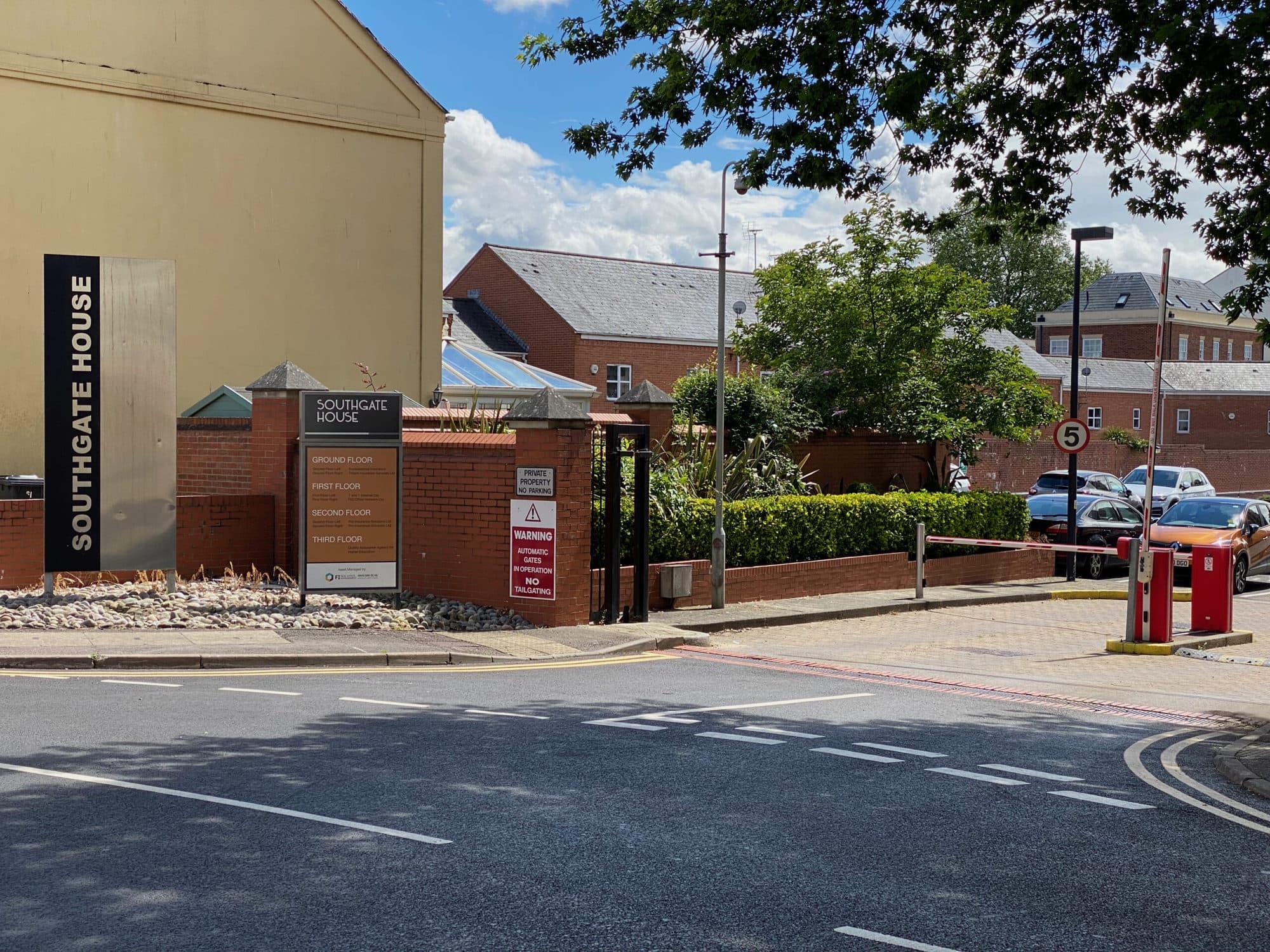 Southgate House car park entrance